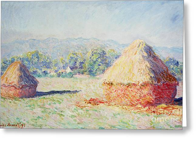 Matin Greeting Cards - Haystacks in the Sun Greeting Card by Claude Monet