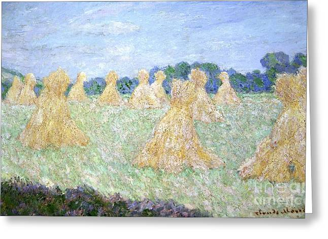 Young Lady Greeting Cards - Haystacks The young Ladies of Giverny Sun Effect Greeting Card by Claude Monet