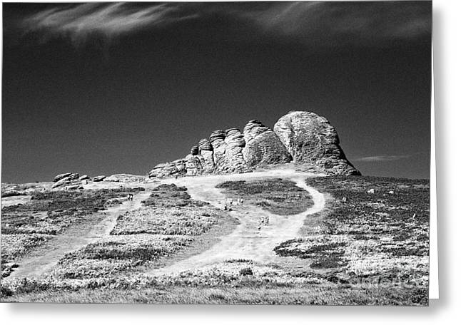 Geology Photographs Greeting Cards - Haytor or Hay Tor rock formation on Dartmoor Devon England UK Black and White  Greeting Card by Jon Boyes