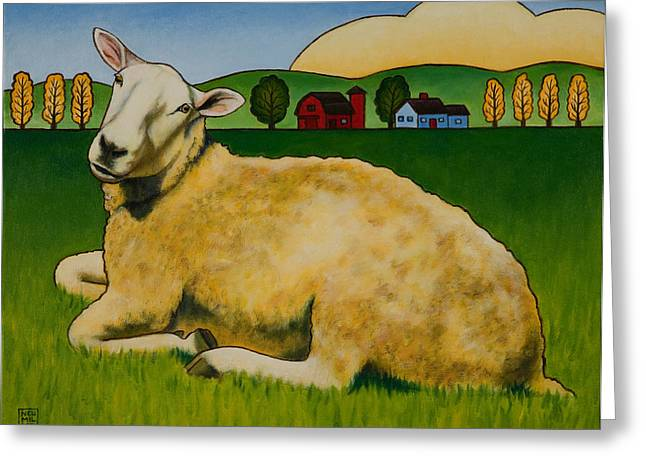 Sheep Paintings Greeting Cards - Hazel Greeting Card by Stacey Neumiller