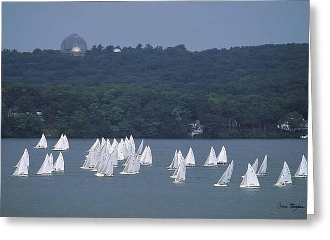 Sailing Ship Greeting Cards - Hazy Day Regatta - Lake Geneva Wisconsin Greeting Card by Bruce Thompson