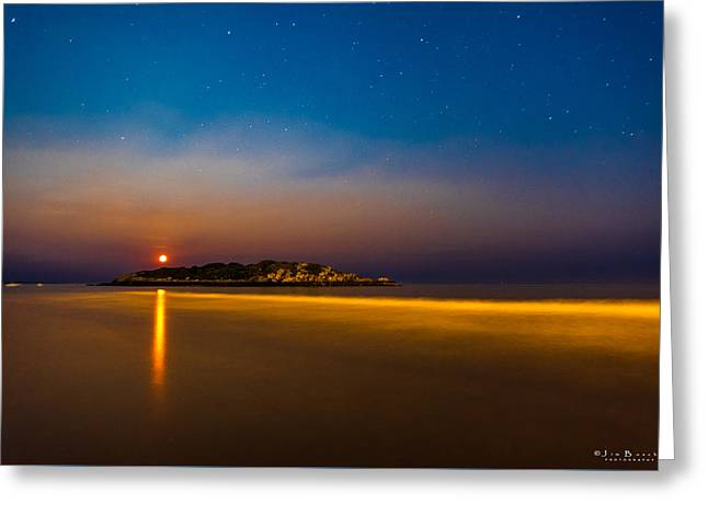 Moonrise Greeting Cards - Hazy Moonrise Greeting Card by Jim Bosch