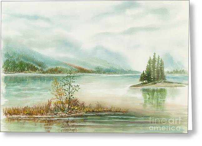 Hazy On The Lake Greeting Card by Samuel Showman