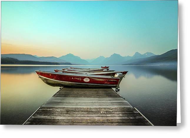 Hazy Reflection // Lake Mcdonald, Glacier National Park Greeting Card by Nicholas Parker