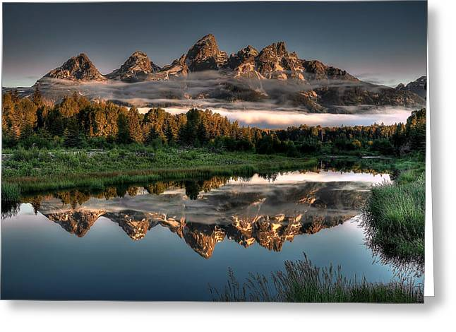 Mountain Greeting Cards - Hazy Reflections at Scwabacher Landing Greeting Card by Ryan Smith