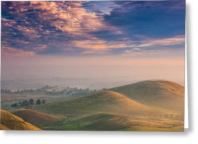 Haze Greeting Cards - Hazy Sunrise Greeting Card by Marc Crumpler