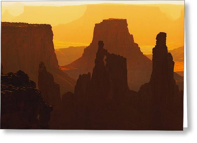 Desert Southwest Greeting Cards - Hazy Sunrise over Canyonlands National Park Utah Greeting Card by Utah Images