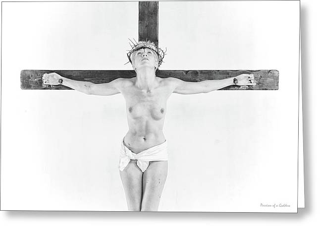 Highlight Crucifix Black And White Greeting Card by Ramon Martinez