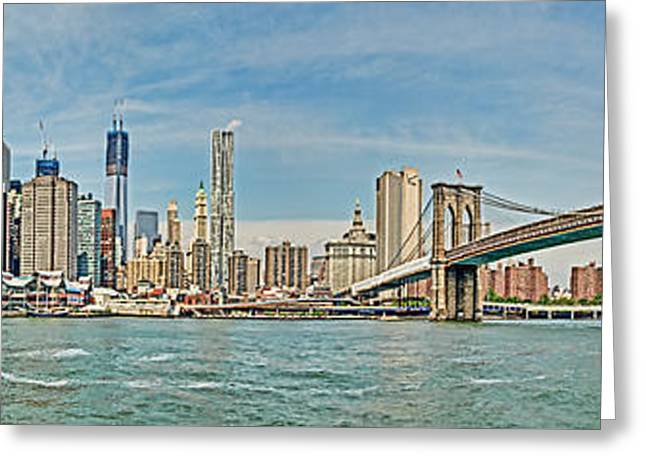 Buildings In The Harbor Greeting Cards - HDR Panoramic NYC Greeting Card by John Amelia