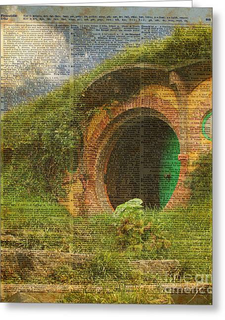 he Bag End Hobbit House Lord of the Rings Shire Illustration Dictionary Art Greeting Card by Jacob Kuch