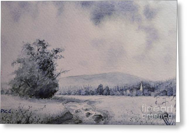 Psalm One Greeting Cards - He Brought Streams - Psalm 78 16a - Landscape with Stream and Tree Greeting Card by Philip Jones