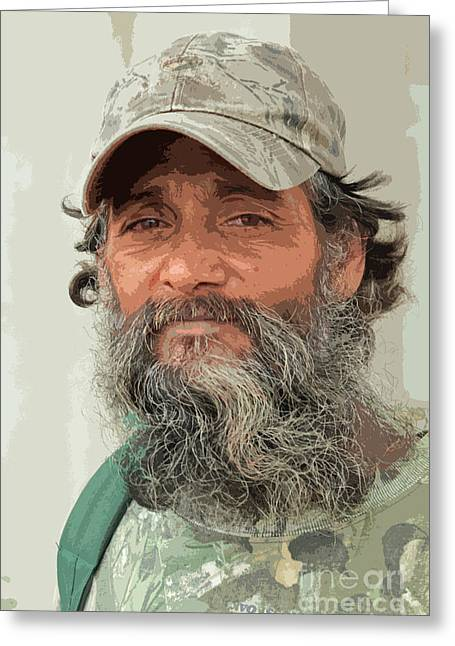 Homeless Man Greeting Cards - He Collects Cans Greeting Card by Joe Jake Pratt