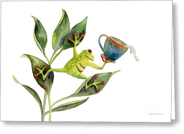 Frogs Greeting Cards - He Frog Greeting Card by Amy Kirkpatrick