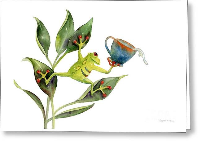 Stylized Paintings Greeting Cards - He Frog Greeting Card by Amy Kirkpatrick