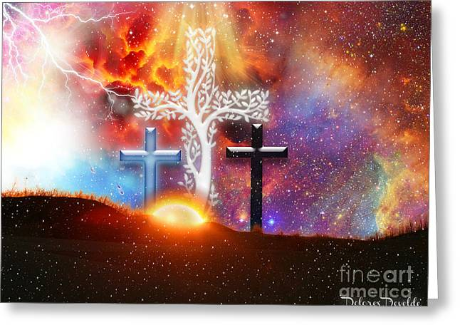 Calvary Mixed Media Greeting Cards - He Has Risen Greeting Card by Dolores Develde