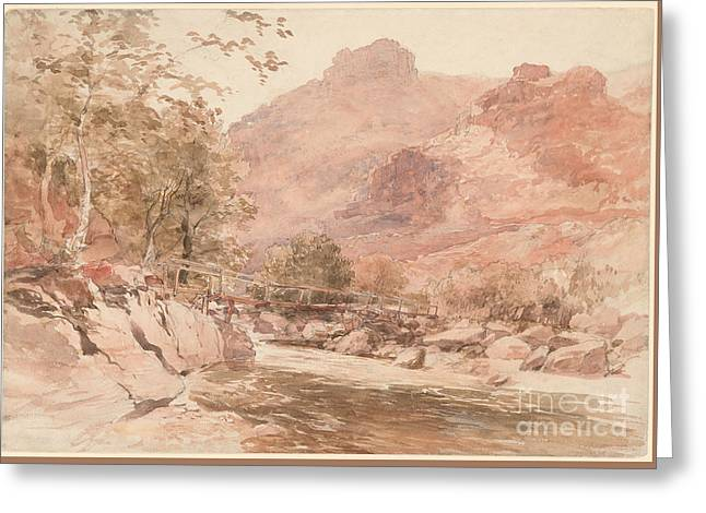 he Old Miner's Bridge over the River Conway Greeting Card by Celestial Images