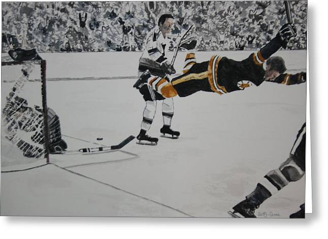 Goalie Paintings Greeting Cards - He Scores Greeting Card by Betty-Anne McDonald