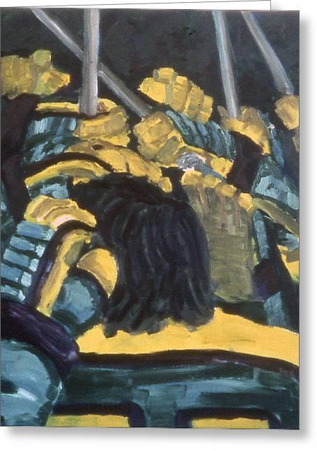 Hockey Paintings Greeting Cards - He Scores Greeting Card by Ken  Yackel