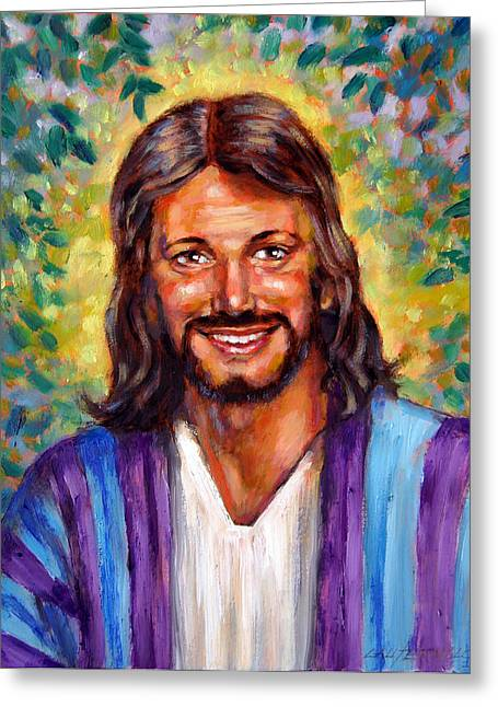 Jesus Smiling Greeting Cards - He Smiles Greeting Card by John Lautermilch