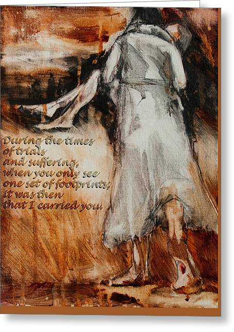 He Walks With Me Greeting Cards - He Walks With Me - Footprints 2 Greeting Card by Jani Freimann