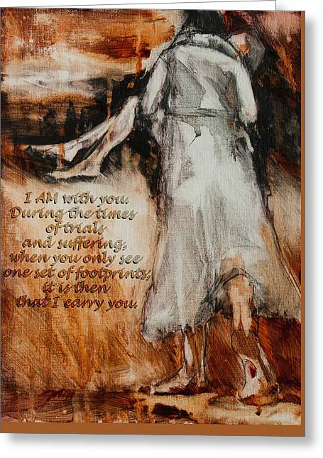 He Walks With Me Greeting Cards - I Am With You - Footprints Greeting Card by Jani Freimann