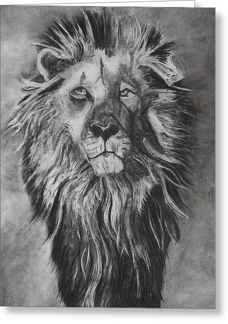 Recently Sold -  - Lions Greeting Cards - He Watchers Over Greeting Card by Angela Bull