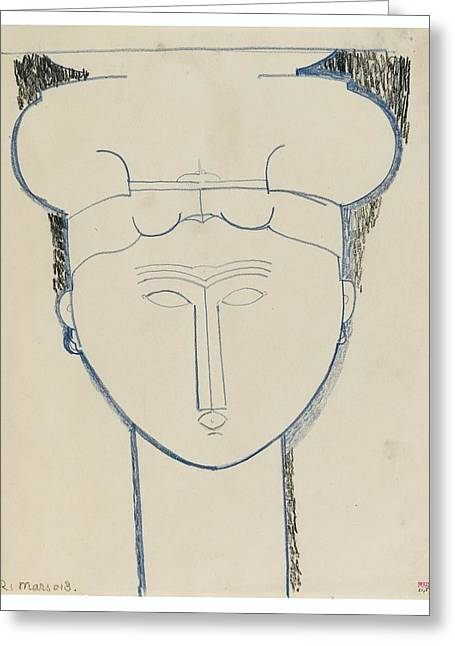 Modigliani; Amedeo (1884-1920) Greeting Cards - Head Cariatide Greeting Card by Amedeo Modigliani