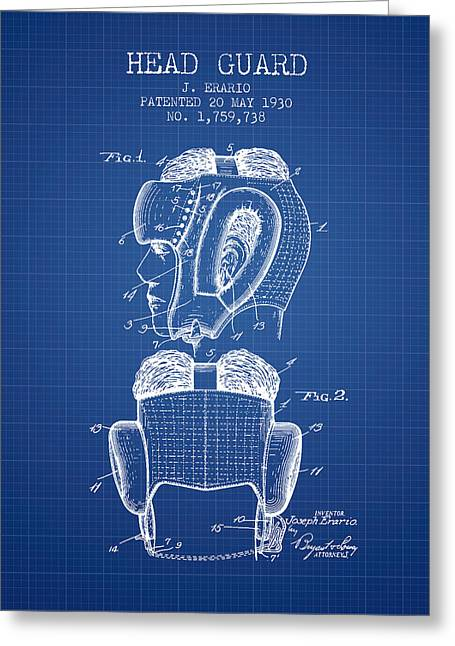 Head Guard Patent From 1930 - Blueprint Greeting Card by Aged Pixel
