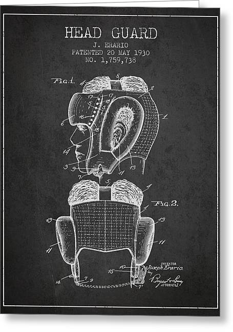 Head Guard Patent From 1930 - Charcoal Greeting Card by Aged Pixel