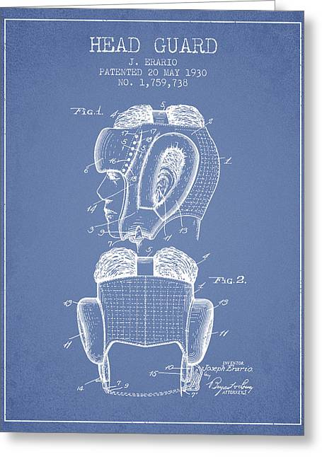 Head Guard Patent From 1930 - Light Blue Greeting Card by Aged Pixel
