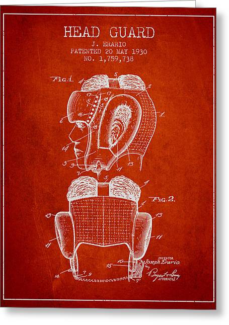 Head Guard Patent From 1930 - Red Greeting Card by Aged Pixel
