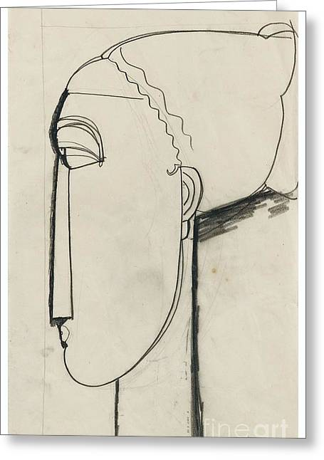 Modigliani; Amedeo (1884-1920) Greeting Cards - Head In Left Profile Chignon Greeting Card by Amedeo Modigliani