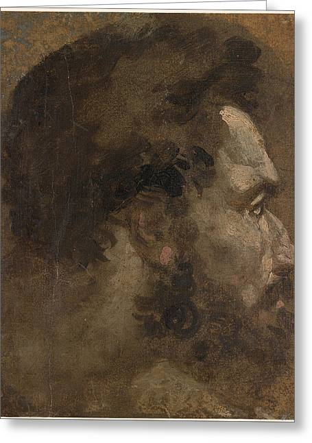 Head Of A Bearded Man In Profile To The Right  Greeting Card by Celestial Images