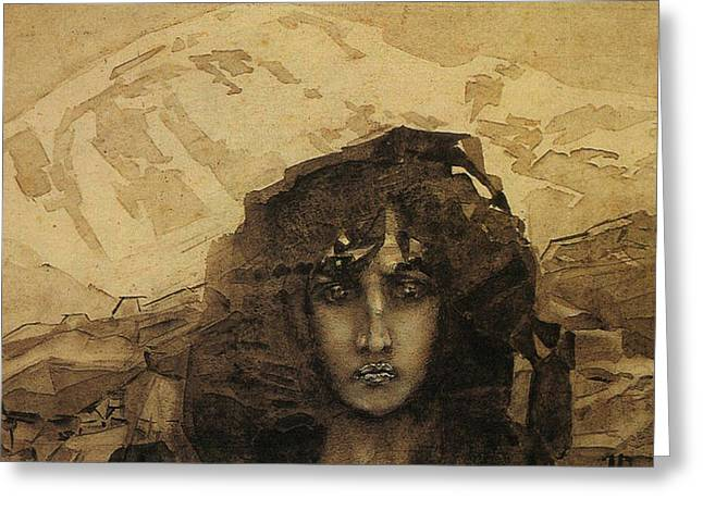 Woman Head Greeting Cards - Head of a Demon Greeting Card by Mikhail Aleksandrovich Vrubel