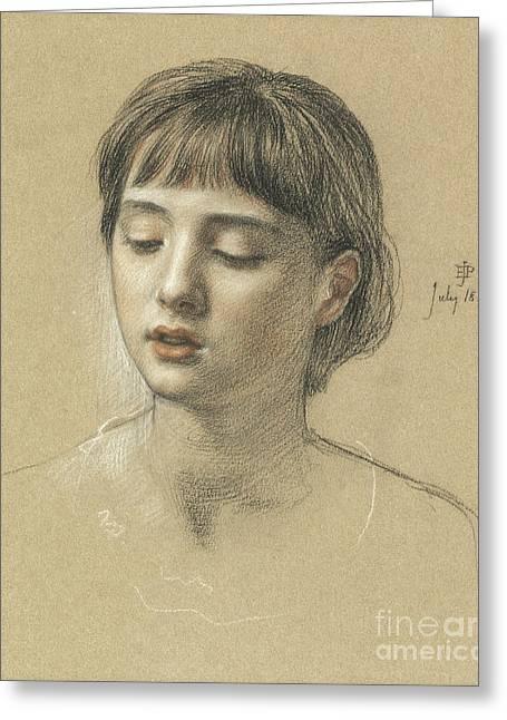Head Of A Girl, 1883 Greeting Card by Edward John Poynter