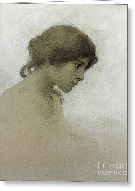 Young Drawings Greeting Cards - Head of a Girl  Greeting Card by Franz Dvorak