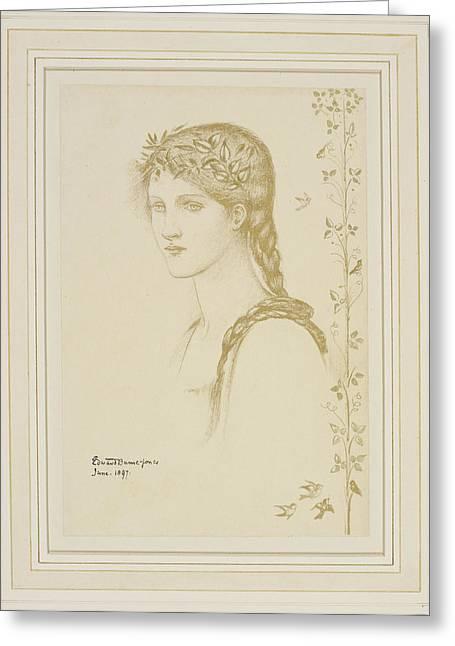 1833 Greeting Cards - Head of a girl Greeting Card by Sir Edward Burne-Jones