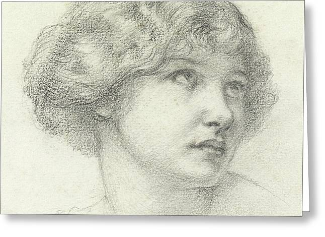 Head Of A Girl  Greeting Card by Walter John Knewstub