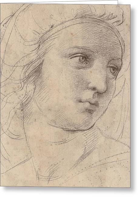 Woman Head Prints Greeting Cards - Head Of A Muse Greeting Card by Raphael