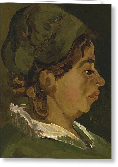 Woman Head Prints Greeting Cards - Head of a Peasant Woman Greeting Card by Vincent Van Gogh