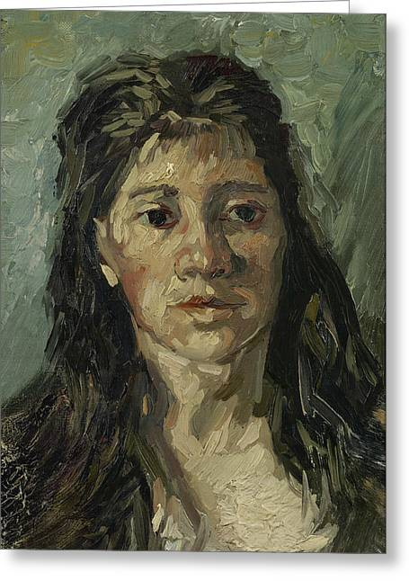 Portrait Of Woman Greeting Cards - Head of a prostitute Greeting Card by Vincent van Gogh