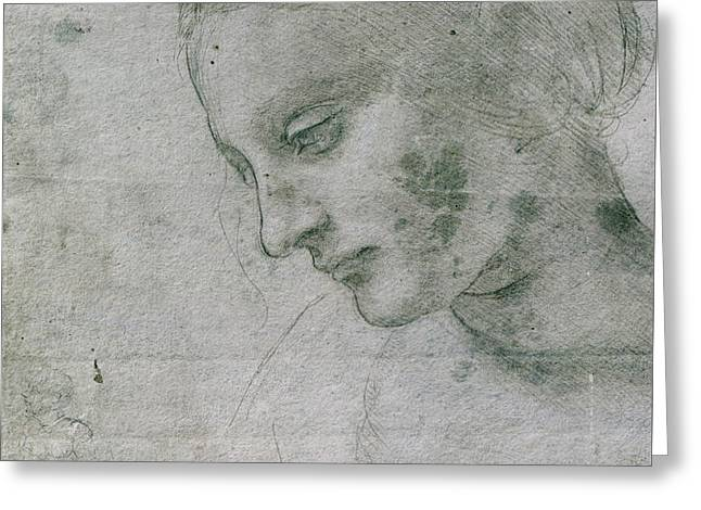 Head Of A Young Woman Or Head Of The Virgin Greeting Card by Leonardo da Vinci