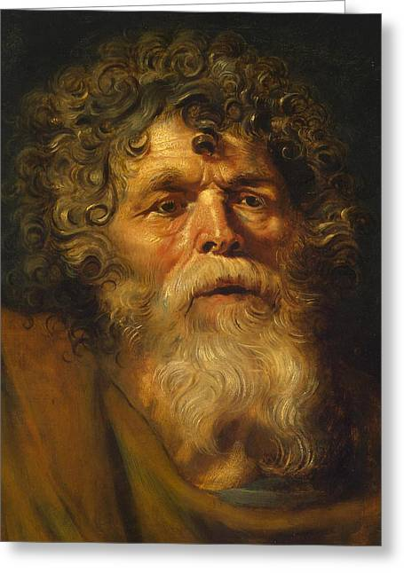 Ecce Paintings Greeting Cards - Head of an Old Man Greeting Card by Peter Paul Rubens