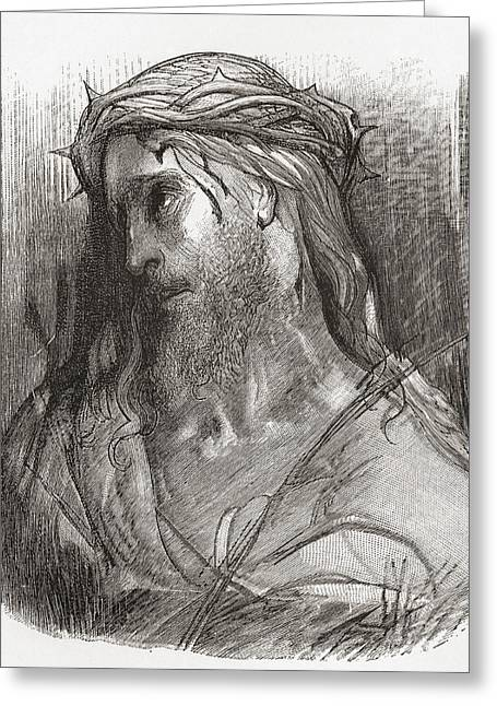 Jesus work Drawings Greeting Cards - Head Of Christ, After The Original Greeting Card by Ken Welsh