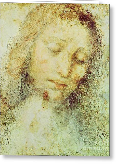 Religious Drawings Greeting Cards - Head of Christ Greeting Card by Leonardo Da Vinci