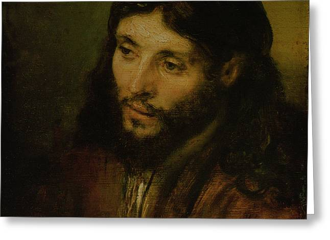 Head of Christ Greeting Card by Rembrandt