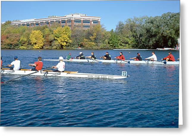 Head Of State Greeting Cards - Head Of The Charles Rowing Festival Greeting Card by Panoramic Images