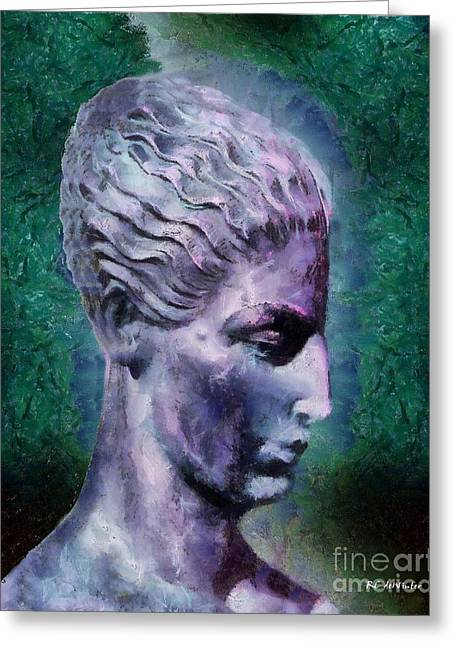 Statue Portrait Greeting Cards - Head of the Huntress Greeting Card by RC deWinter
