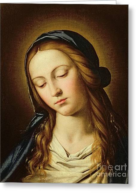 Il Sassoferrato Greeting Cards - Head of the Madonna Greeting Card by Il Sassoferrato