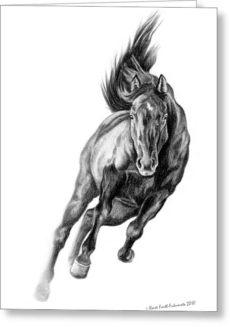Horse Drawings Greeting Cards - Head On Greeting Card by Renee Forth-Fukumoto